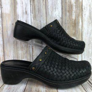 Ecco Black Woven Leather Clogs